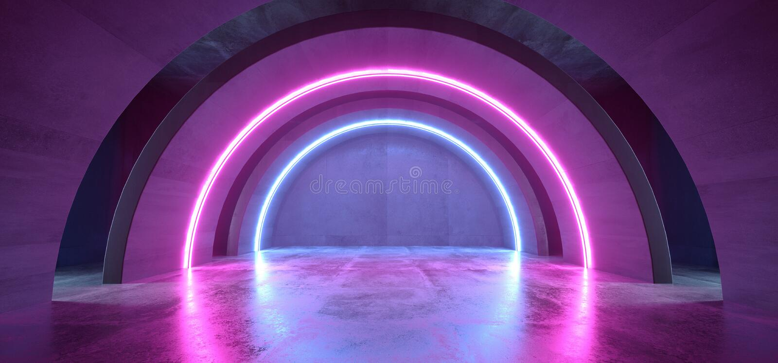 Neon Lights Blue Purple Glowing Circle Arch Sci Fi Futuristic Virtual Grunge Concrete Reflective Dark Empty Corridor Tunnel. Spaceship Stage Garage Hallway 3D royalty free illustration