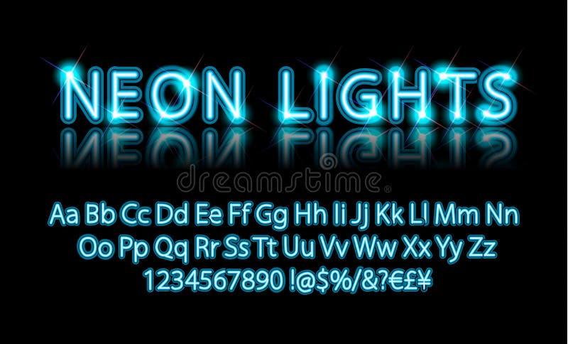 Bright Neon Alphabet Letter blue. Neon lights. Bright Neon Alphabet Letters, Numbers and Symbols Sign in Vector. Night Show. Night Club vector illustration