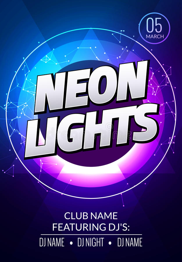 Neon lights party music poster. Electronic club deep music. Musical event disco trance sound. Night party invitation. DJ flyer vector illustration