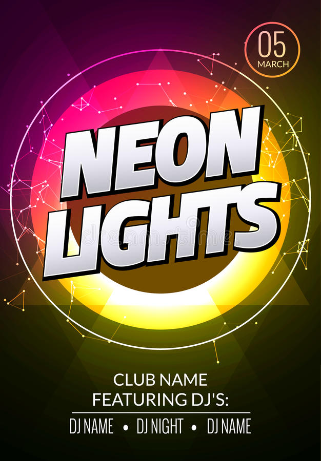 Neon lights party music poster. Electronic club deep music. Musical event disco trance sound. Night party invitation. royalty free illustration