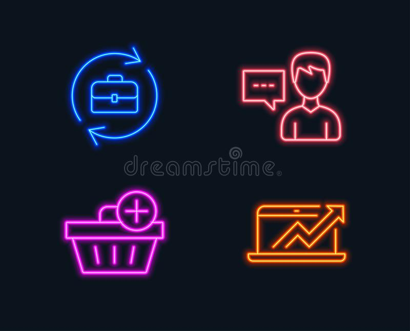 Add purchase, Person talk and Human resources icons. Sales diagram sign. stock illustration