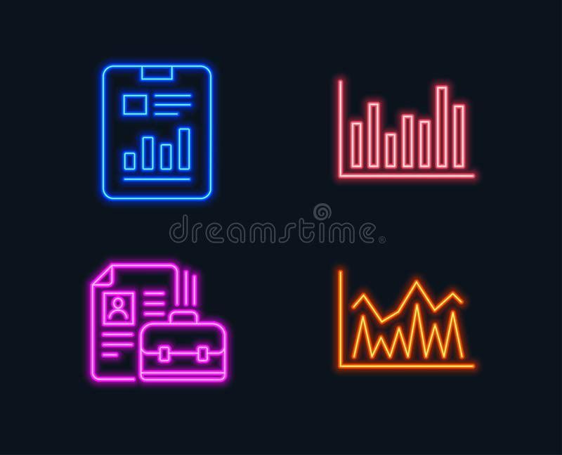 Bar diagram, Report document and Vacancy icons. Investment sign. Neon lights. Set of Bar diagram, Report document and Vacancy icons. Investment sign. Statistics stock illustration