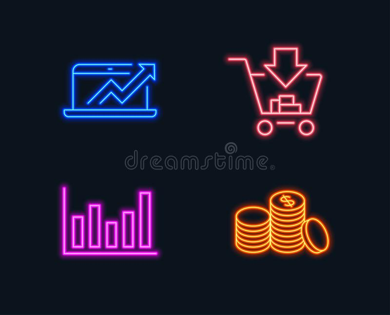 Column Chart Sales Diagram And Shopping Icons Banking Money Sign