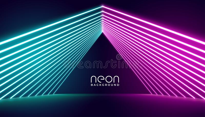 Neon lights stage background in pink and blue lights royalty free illustration