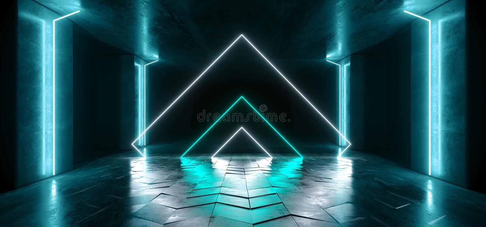 Neon Lights Triangle  Graphic Glowing Blue Vibrant Virtual Sci Fi Futuristic Tunnel Studio Stage Construction Garage Podium royalty free illustration