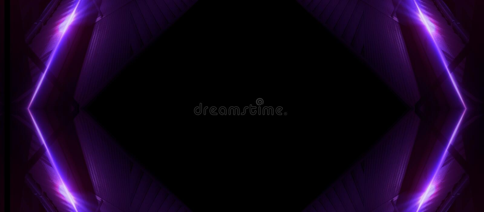 Neon lines on a dark background. Space background, lights space units. Abstract neon background, cosmic tunnels royalty free illustration