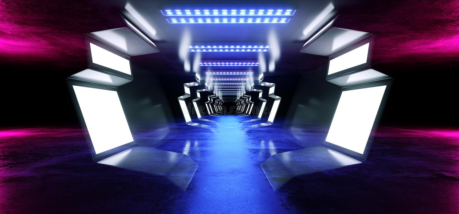 Neon Lines Futuristic Purple  Sci Fi Spaceship Glowing White Blue Metal Reflective Concrete Floor Corridor Tunnel Hallway Entrance. Gate Garage Underground royalty free illustration