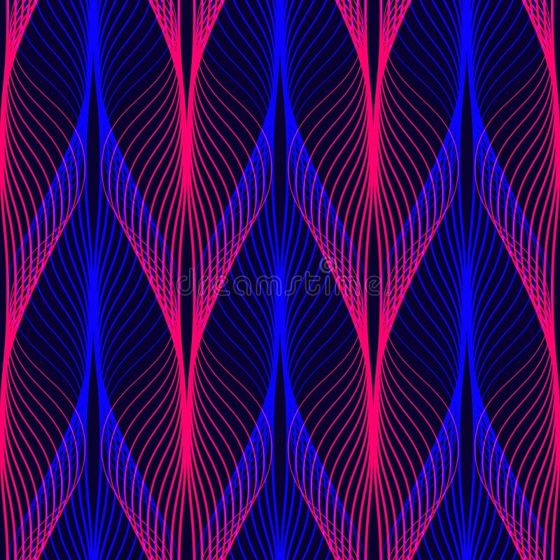 Neon lines seamless pattern. Background with glowing 80s retro vapor wave style stock illustration