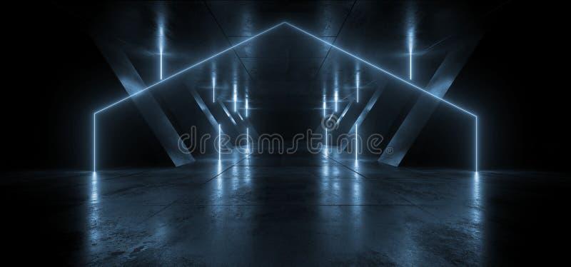 Neon Lines Tube Lights Futuristic Sci Fi Glowing Blue Vibrant Laser Beams Showroom Wet Concrete Dark Empty Background Tunnel. Corridor Hall Spaceship Virtual 3D royalty free illustration