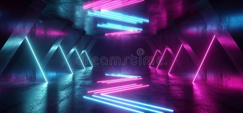 Neon Lines Tube Lights Futuristic Sci Fi Glowing Purple Blue Vibrant Laser Beams Showroom Concrete Dark Empty Background Tunnel. Corridor Hall Spaceship Virtual stock illustration