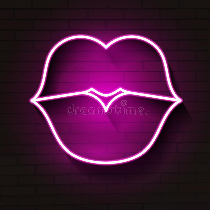 Neon lips sign. Design element for Happy Valentine`s Day. Ready for your design, greeting card, banner. royalty free illustration