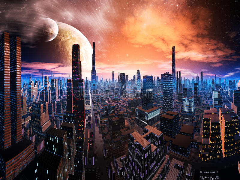 Neon Lit Cityscape on Distant World stock illustration
