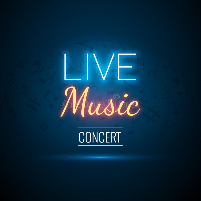 Neon Live Music Concert Acoustic Party Poster Background Template with spotlight and stage vector illustration