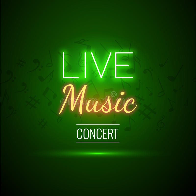 Neon Live Music Concert Acoustic Party Poster Background Template with text sign spotlight and stage. vector illustration