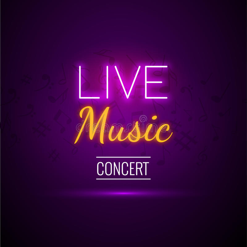 Neon Live Music Concert Acoustic Party Poster Background Template with text sign spotlight and stage. stock illustration