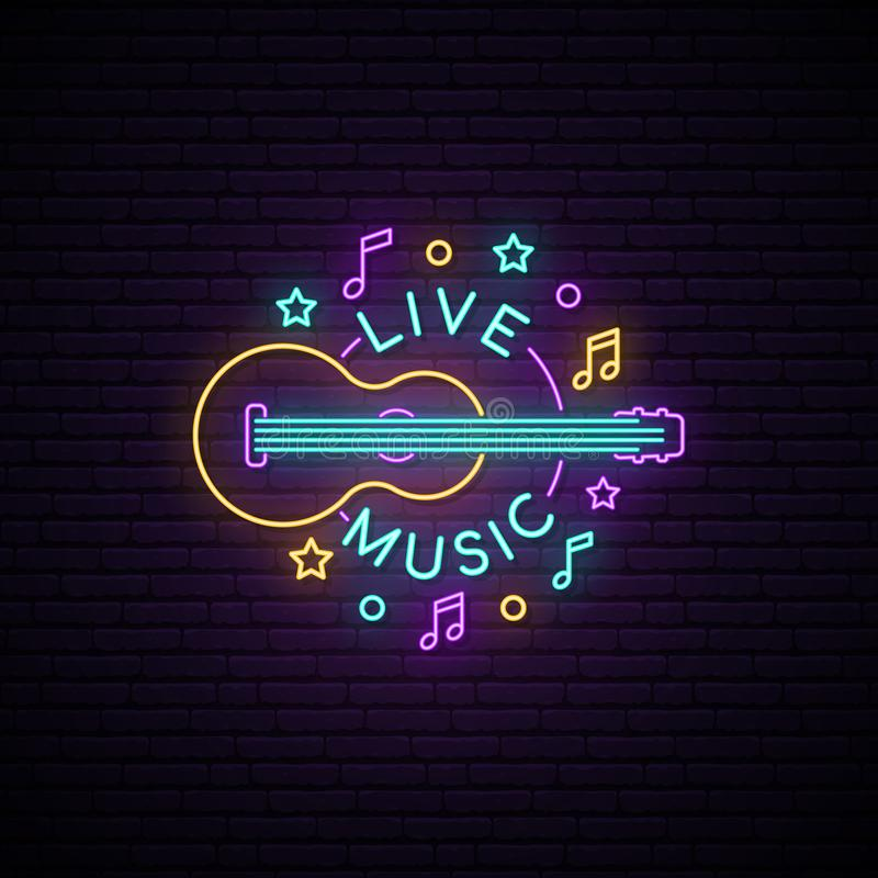 Neon Live Music sign. stock illustration
