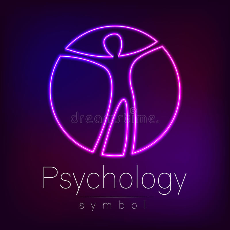 Neon Logo Modern man Sign of Psychology. Human in a circle. Creative style. Icon in vector. Design concept. Brand. Company. Violet color isolated on blur royalty free illustration