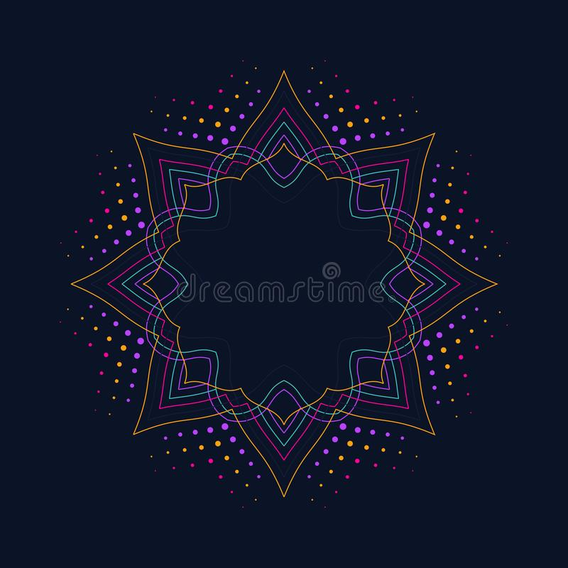 Neon lotus flower icon on dark blue background, logo design, modern print design, round decorative border frame vector illustration