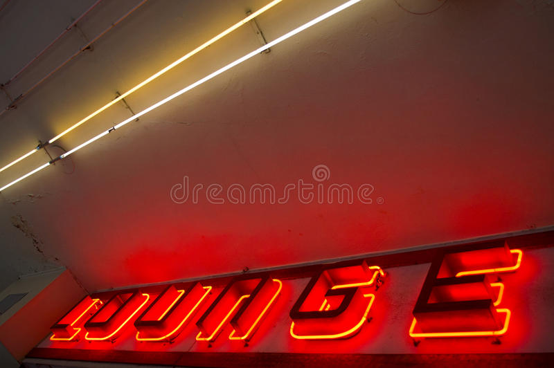 Neon Lounge Sign stock image