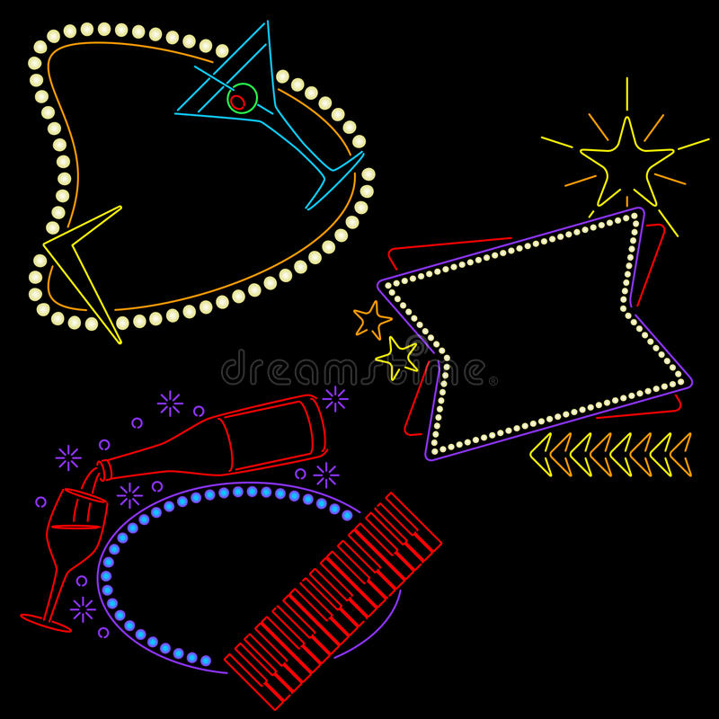 Free Neon Lounge Signs Ready For Your Text Royalty Free Stock Photos - 16520238