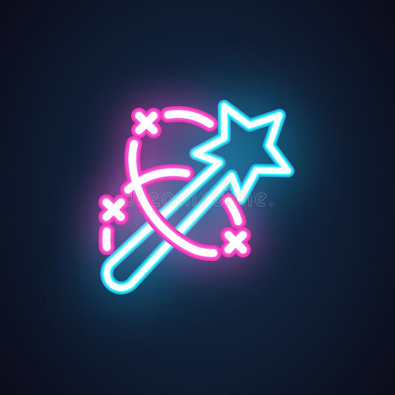 Neon magic wand icon. Label of illusionist show, performance, entertainment event. Interface, setting and game element royalty free illustration