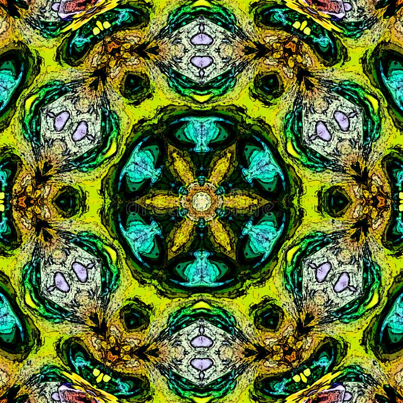 Neon color mandala, psychedelic design of turquoise arabesque royalty free illustration