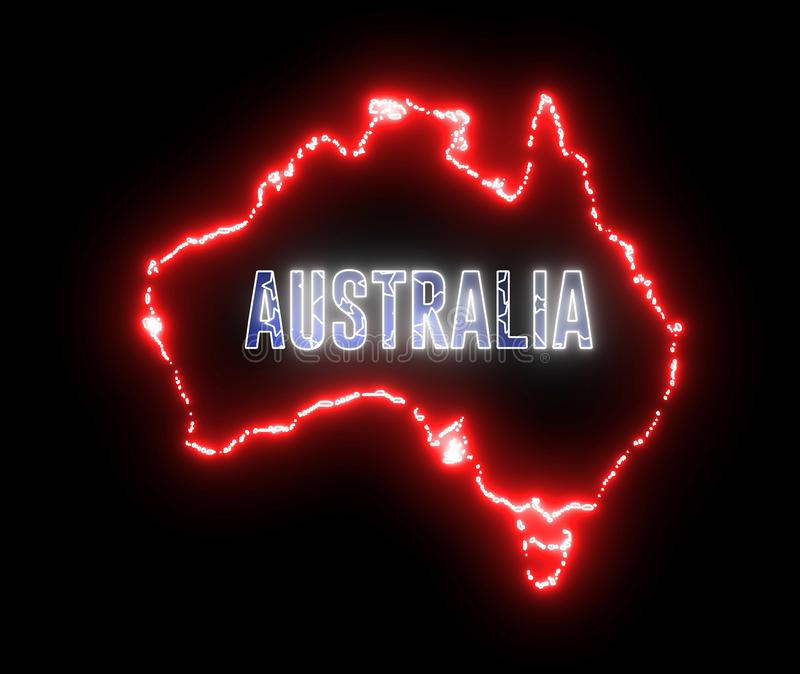 Neon map of Australia continent. Outline of Australian country, neon, led light royalty free illustration
