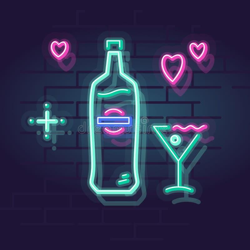 Neon martini in glas Het nacht verlichte teken van Wall Street Geïsoleerde geometrische stijlillustratie op bakstenen muurachterg royalty-vrije illustratie