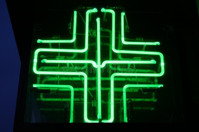 Neon Medical Cross stock image