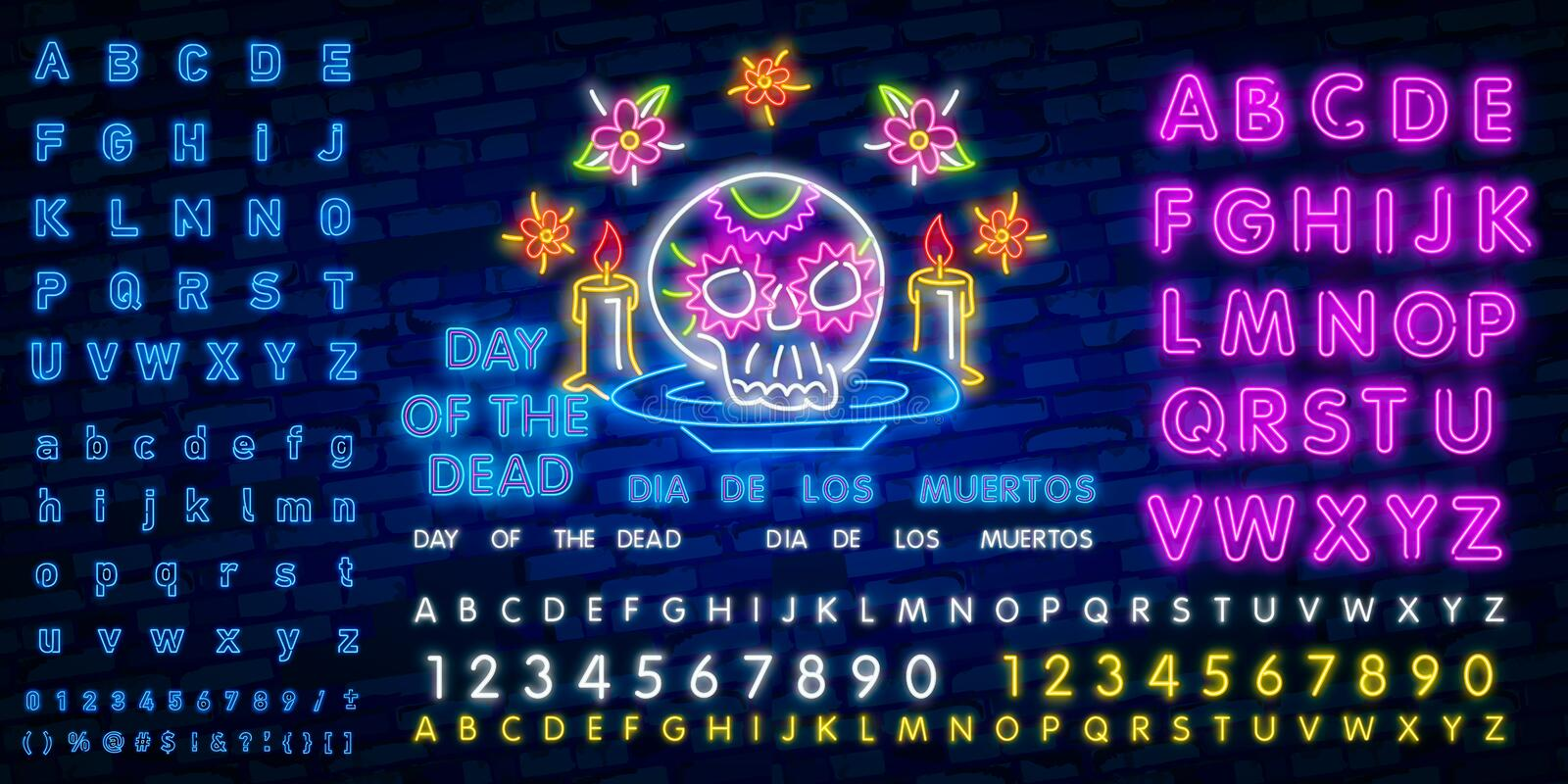 Neon Mexican icons. Icon from Cinco De Mayo. Mexico neon sign. Cactus, Flag Mexico, Tequila, Mexican hat, Skull, Taco, Maracas,. Mexican icons. Icon from Cinco stock illustration