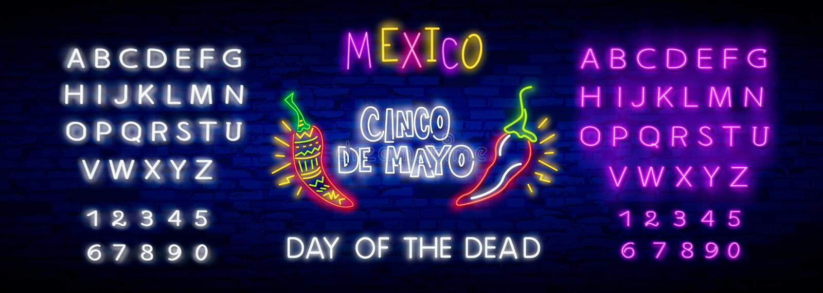 Neon Mexican icons. Icon from Cinco De Mayo. Mexico neon sign. Day of the Dead Dia de Muertos . Neon sign, bright signboard, light. Skull neon sign. Day of the royalty free illustration