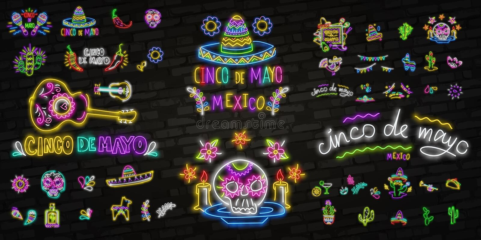 Neon Mexican icons. Icon from Cinco De Mayo. Mexico neon sign. Cactus, Flag Mexico, Tequila, Mexican hat, Skull, Taco, Maracas, stock illustration