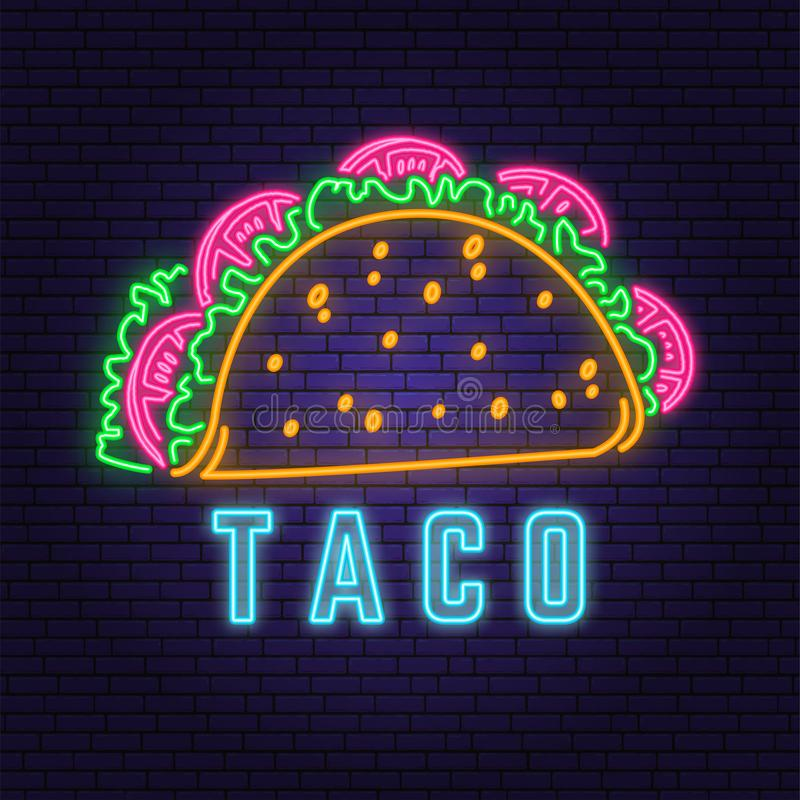 Neon mexican taco retro badge design. Design for cafe, restaurant. Vector. Neon design for pub or fast food business stock photos