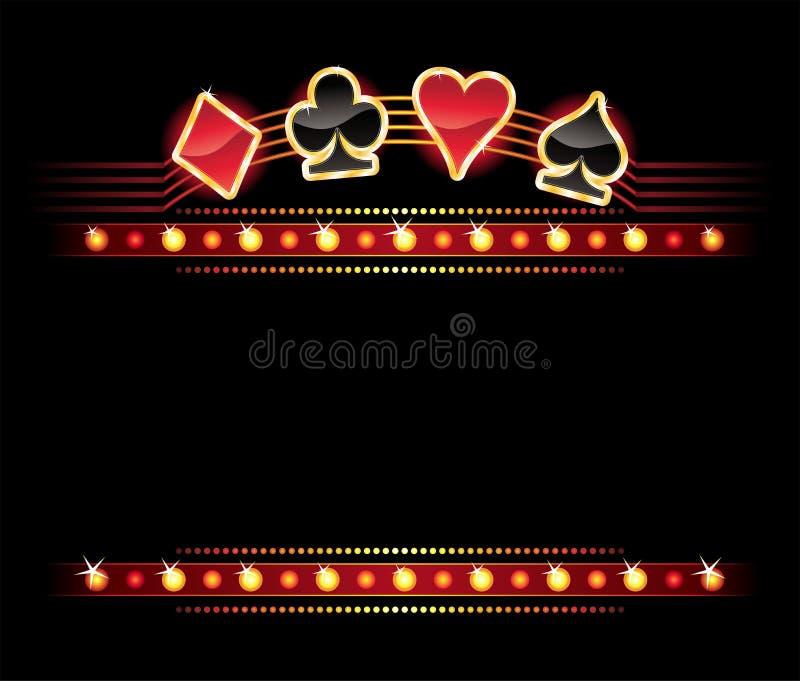 Neon mit Kartensymbolen stock abbildung