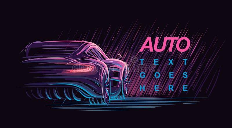 Neon modern car illustration. Vector. royalty free illustration