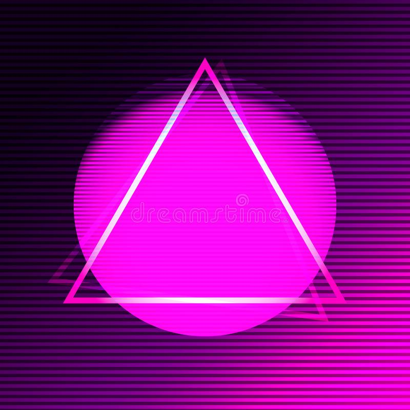 Neon modern poster in the style of synthave. royalty free illustration