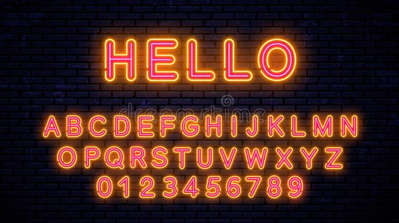 Neon mooie geel - rode brieven vector illustratie