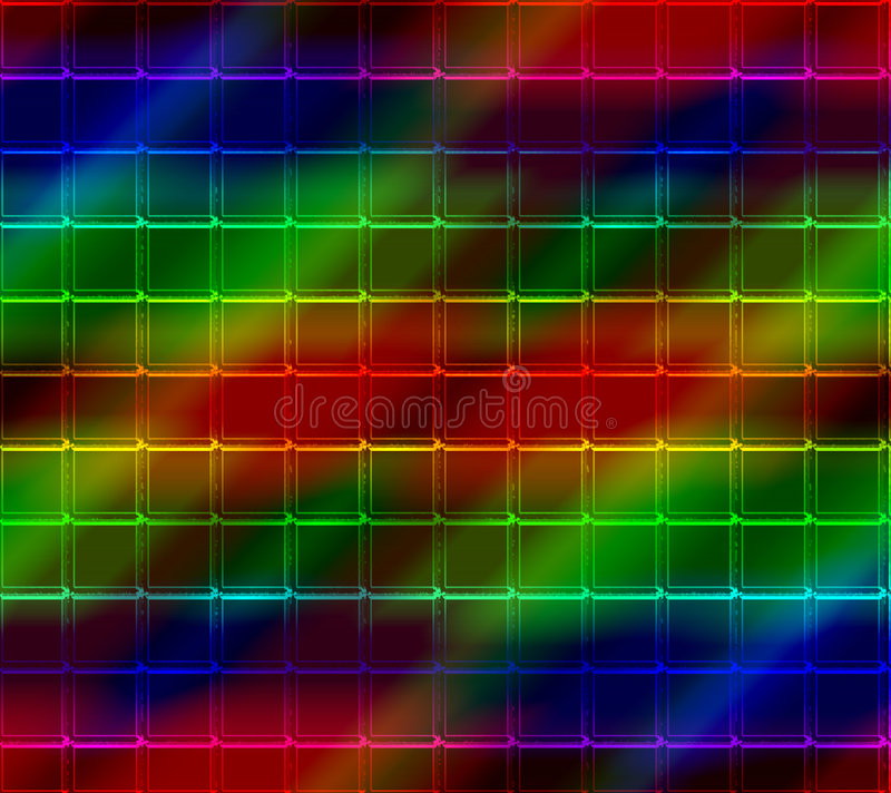 Neon Mosaic Tile Background. Colorful background mosaic design of shiny neon tile boxes or cubes with a shadowy surface for depth vector illustration