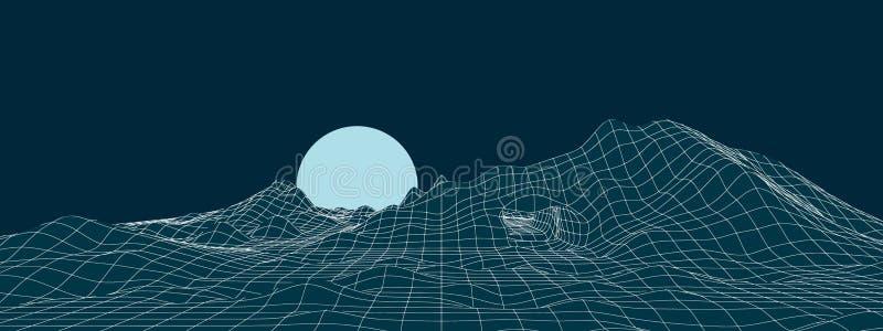 Neon mountain landscape with moon illustration stock illustration