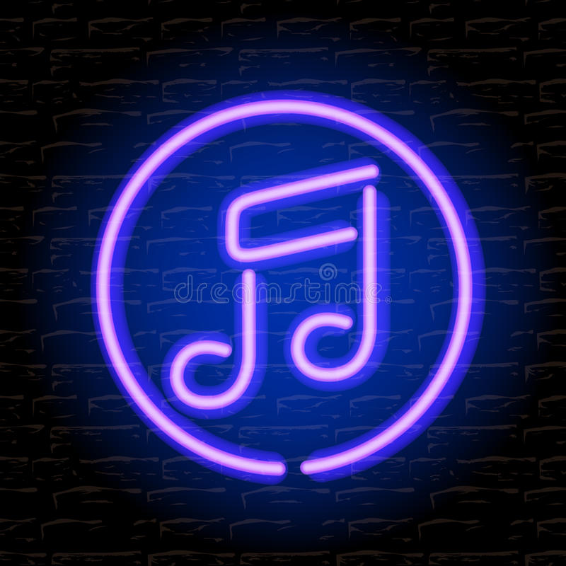 Download Neon Music Note On The Brick Wall Stock Photo - Image of dance, information: 31493762