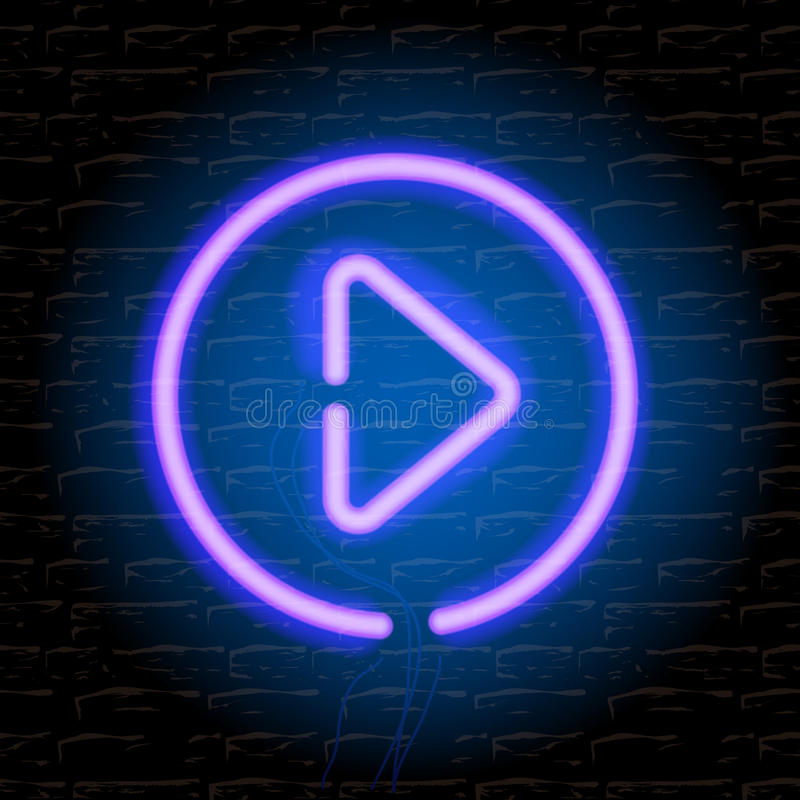 Neon music play button on the brick wall vector illustration