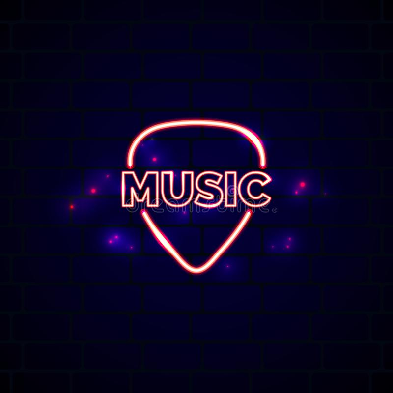 Neon music shop sign with plectrum. Glowing guitar shop vector emblem stock illustration