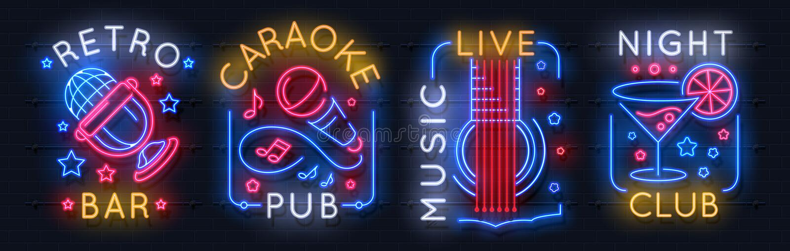 Neon music sign. Karaoke light logo, sound studio light emblem, night club graphic poster. Vector music bar neon label. Acoustic concert radio rock show royalty free illustration