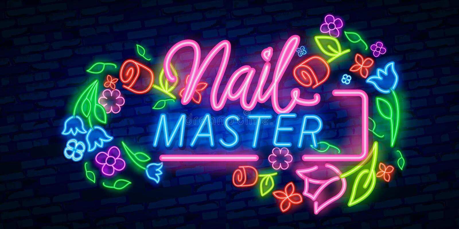 Neon Nail Master Typography Square Poster template neon sign, light banner, neon signboard. Vector lettering. Calligraphy phrase stock illustration