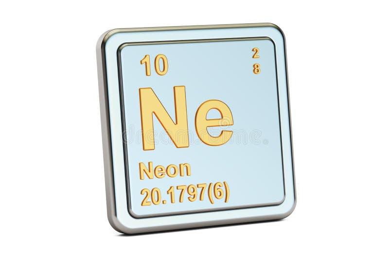 Neon Ne, chemical element sign. 3D rendering royalty free illustration