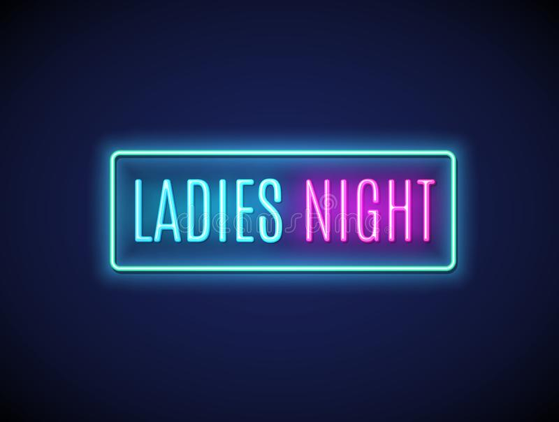 Neon night lady fashion invitation sign party flyer. Pink bar or club for girl disco party typography vector illustration