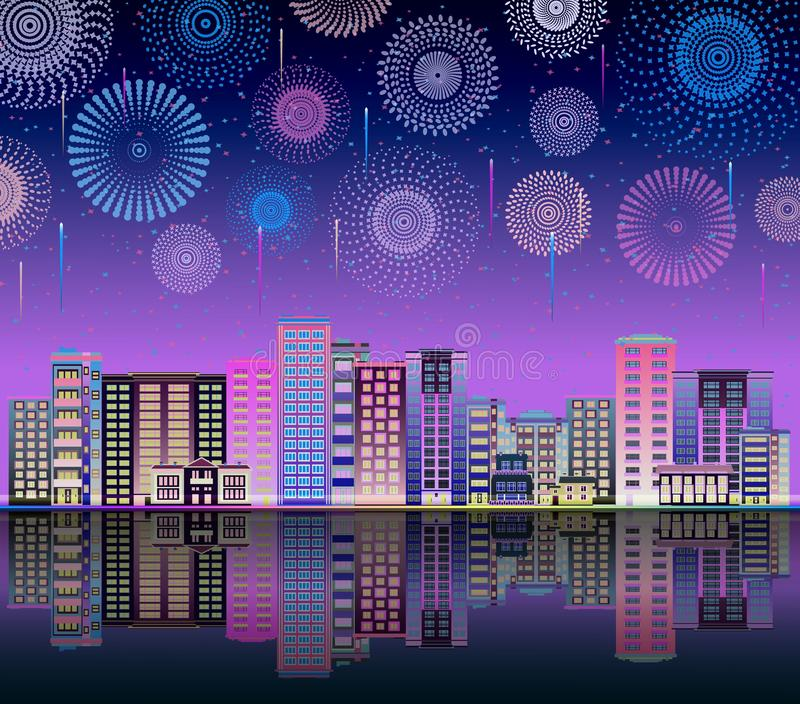 Neon night sky with firework the city line flat vector illustration background. Neon bright night sky with firework lights the holiday city landscape horizon stock illustration