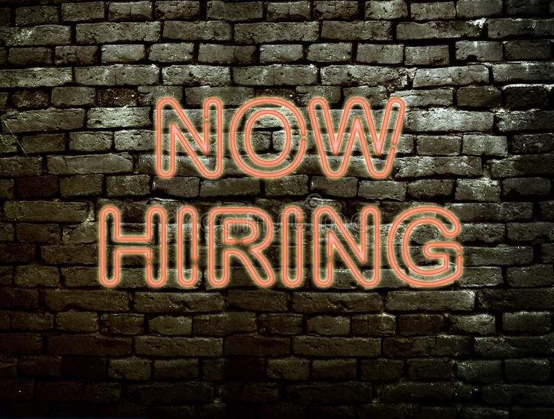 Neon Now Hiring sign royalty free stock images
