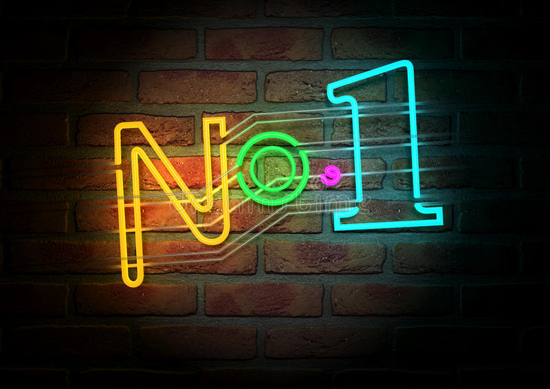 Neon Number One Sign On A Face Brick Wall royalty free illustration