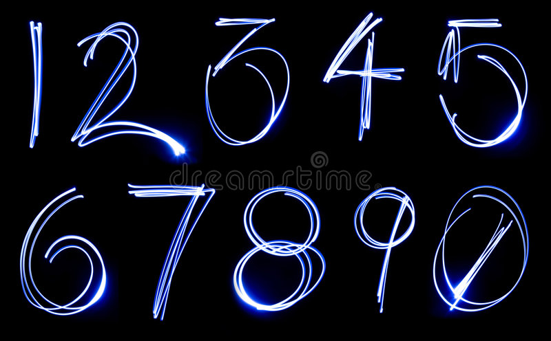 Download Neon Number Set stock photo. Image of shapes, effects - 9210166